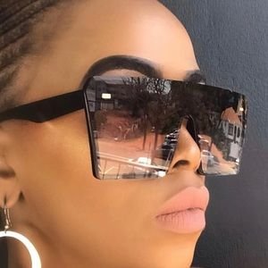 Oversized Square Sunglasses Flat Top Black Clear